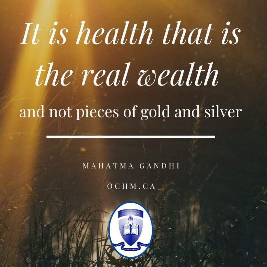 """It is Health that is the Real Wealth and not pieces of Gold and Silver"" Mahatma Gandhi"